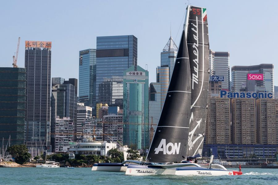 Maserati Multi 70 sets sail for the Nha Trang Rally, ex Hong Kong to Vietnam Race