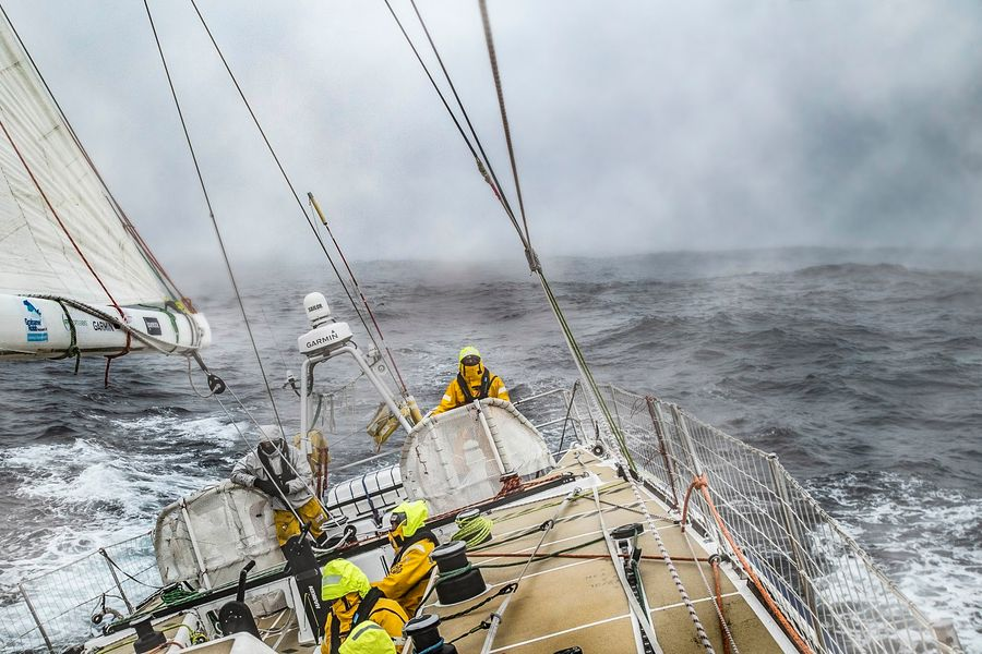 Clipper Race: The sky is grey, the sea is grey, the squalls are grey