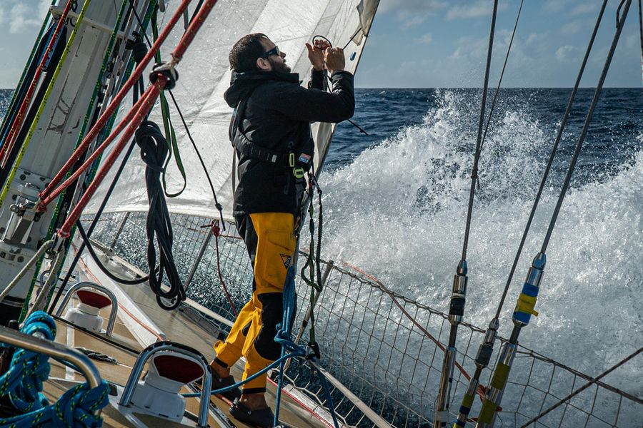 Clipper Race fleet beating upwind and heading north