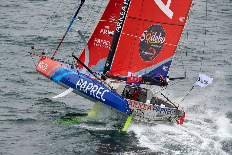 Vendee Globe leader in the Indian Ocean,1200 miles SE of Cape Town